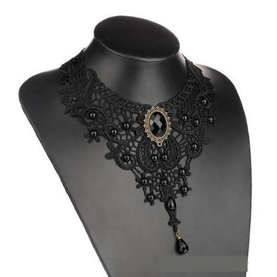 Gargantilha Vitoriana Colar Gótico De Luxo Black & Beads