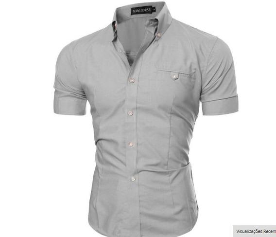 Atacado Kit 5 Camisa Social Slim Fit 100%algodão Manga Curta