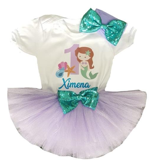 Sirenita Conjunto Disfraz Tutú Cumpleaños Trajecito Bebé