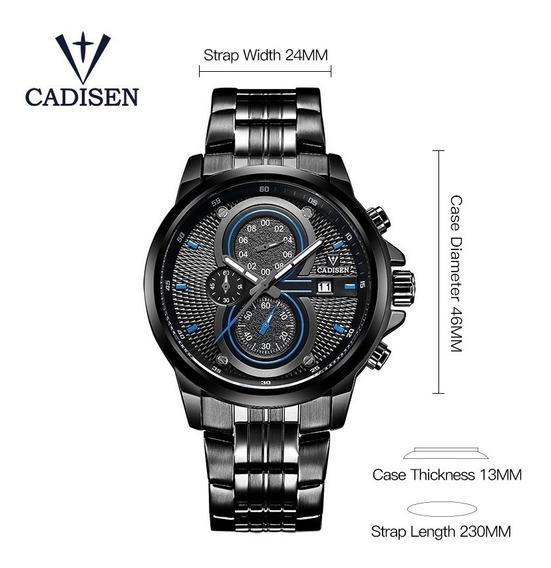 Relógio Pulso - Cadisen 46mm Quartzo - Vidro Hardlex
