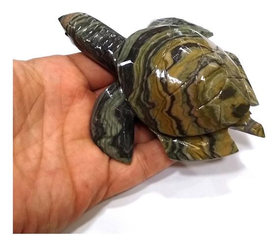 Tartaruga Animal De Pedra Brasileira Natural Jaspe 13cm 312g