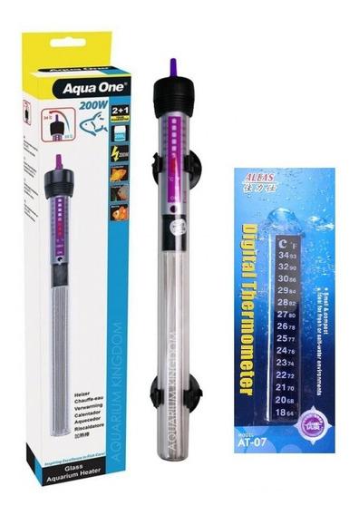 Termostato C/ Aquecedor Aquários Aqua One 200w + Brinde Full