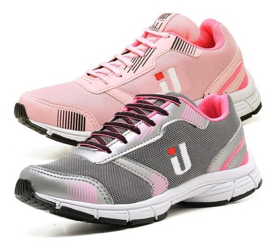 2 Tênis Caminhada Academia Leve Confortável Feminino