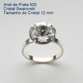 Anel De Prata 925 Com Garantia Cristal Swarovski 12 Mm 7900a