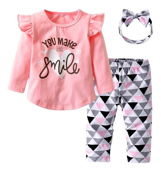Conjunto Para Bebes Blusa + Pantalon + Tiara Niñas Envio B52