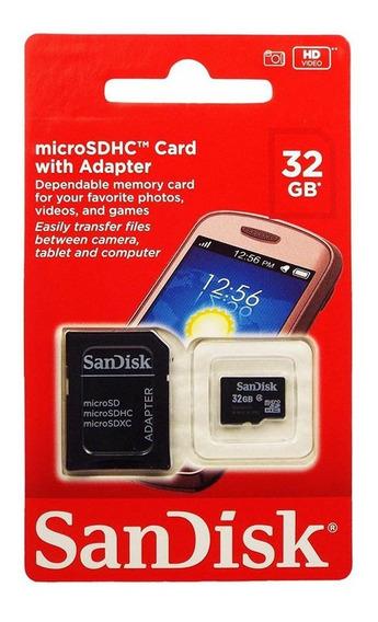 Memoria Micro 32gb Sandisk + Adaptador Clase 4 100% Original