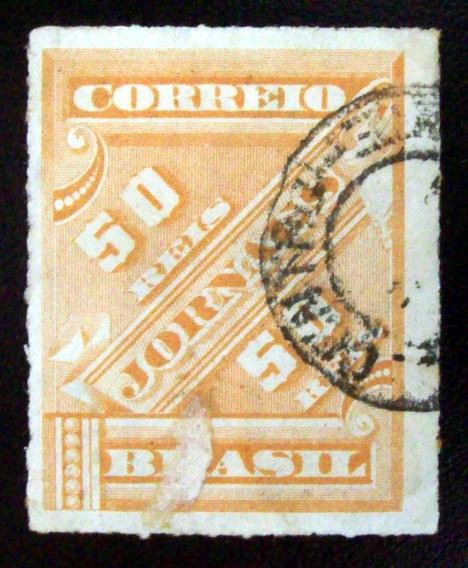 Brasil, Sello Diarios Yv. 3 50r Ocre 1889 Usado L6915