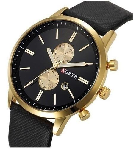 Relógio Masculino Pulso North Preto E Dourado