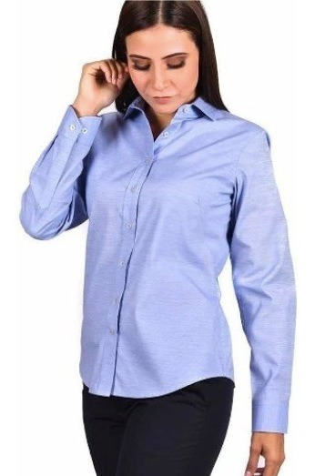 Blusa/ Camisa Dama Manga Larga, Algodón, Blanca, Azul R