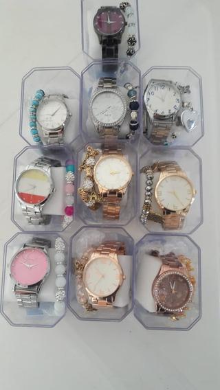 Kit C/9 Relógios Feminino Pulseira Atacado Revenda + Caixa.