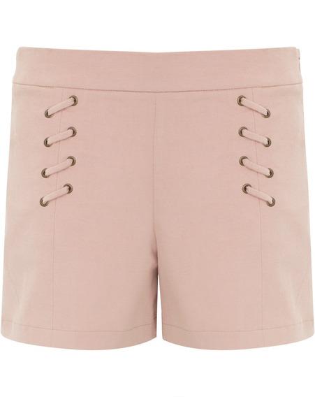 Shorts Bermuda Feminino Em Tecido Tipo Suede Cintura Alta