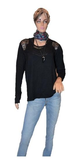 Portsaid Remera Tipo Blusa Color Negra Con Encaje Promo