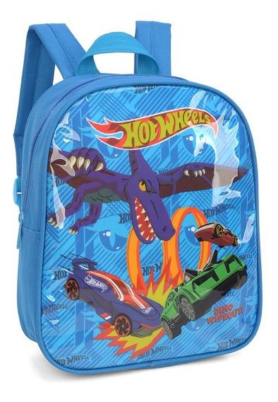 Mochila Infantil Hot Wheels Azul 33835 Luxcel