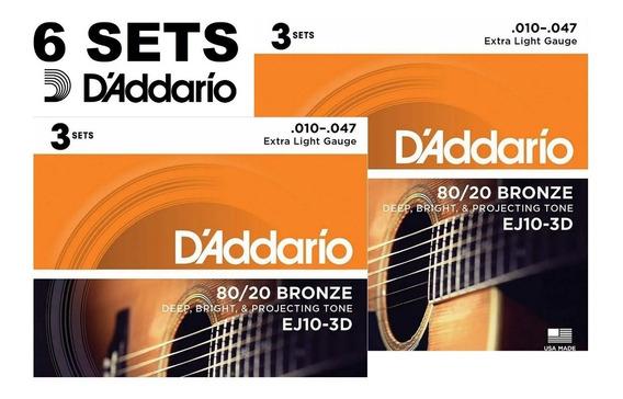 Kit Encordoamento Daddario Violão Aço Ej10-3d 010 Com 6 Sets