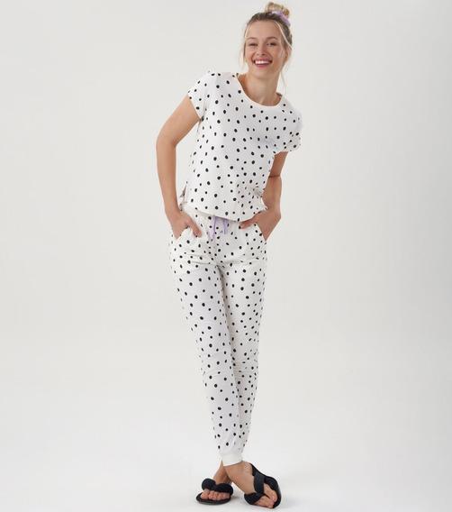 Pijama Bolinhas Manga Curta Calça Longa 100% Algodão