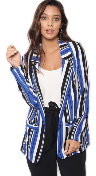 Saco Blazer Mujer De Vestir Rayado Largo Forrado Microcentro