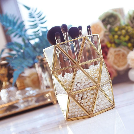 Organizador Maquiagem Cristal Porta Píncel Luxo