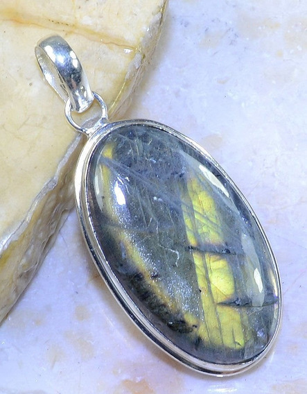 Pingente Prata Indiana Pedra Labradorita Natural
