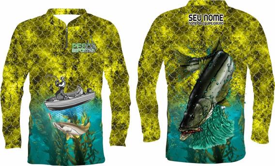 Camisa De Pesca Protecão Uv +nome Gratis Robalo