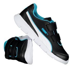 Tênis Puma Stepfleex Fs Infantil Preto E Azul