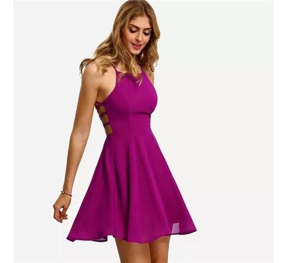 Vestido Corto De Gasa Nuevo Importado De Usa Color Uva