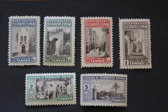 Tanger Serie 6 Sellos Beneficio Huérfanos De Telégrafos Mnh