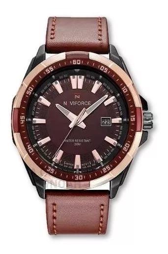 Relógio Masculino Luxo Naviforce Data Couro Original