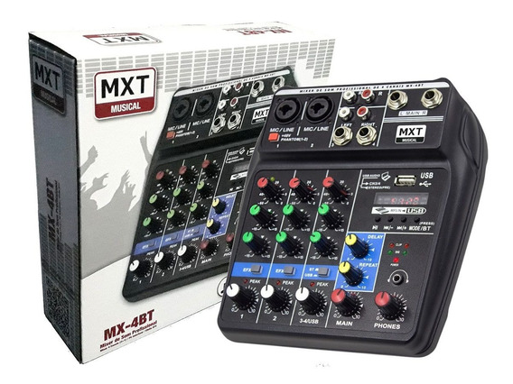 Mixer 4 Canais Mx-4bt Efeito Efx Phanton Power Pc Interface