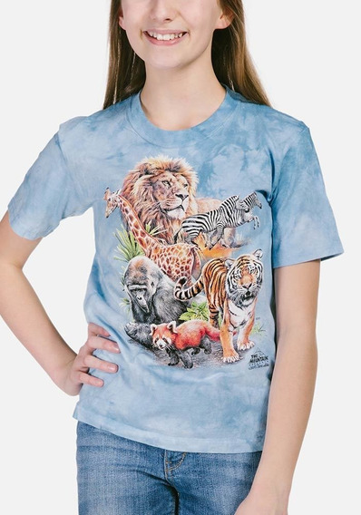 Playera 4d - Unisex Infantiles 15-4312 Zoo Collage