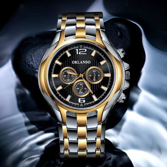 Relógio Masculino Luxo Dourado Brindes Estojo Caneta Prata