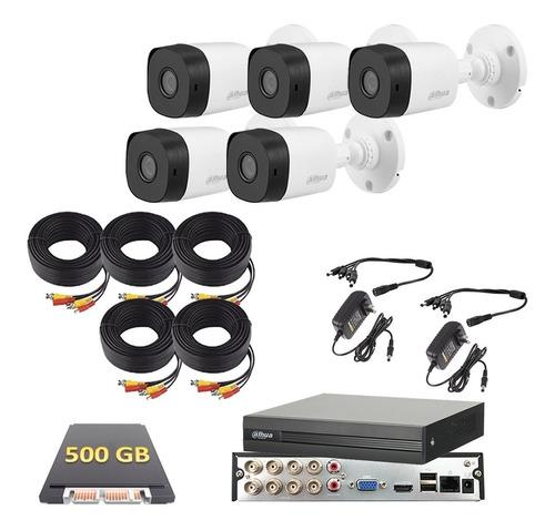 Imagen 1 de 6 de Kit Video Vigilancia 5 Cámaras Fhd 1080p Dahua Cctv 500 Gb