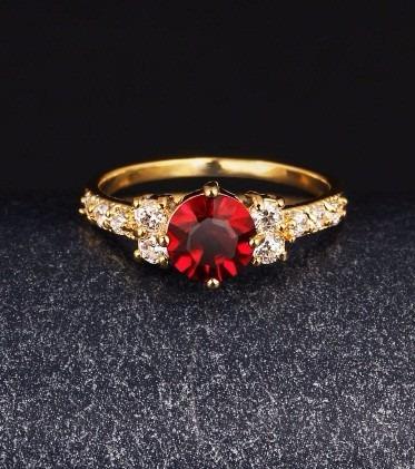 Anel De Formatura - Vermelho Rubi - Ouro 18k