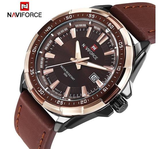 Relógio Naviforce Masculino Original Importado Couro 9056
