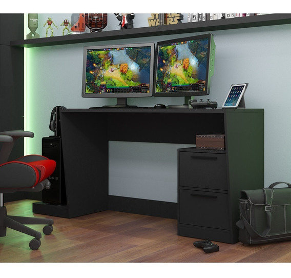 Mesa Para Computador Gamer 2 Portas Bmg 02 - Preto