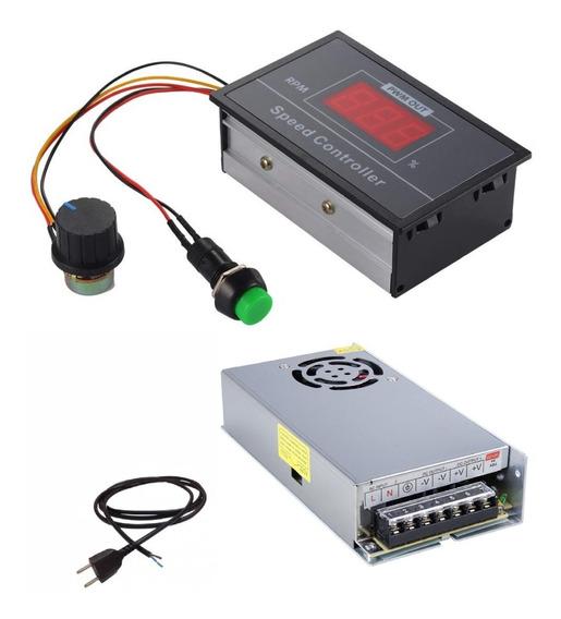 Controlador Velocidade Motor Dc + Fonte 12v Potenciometro