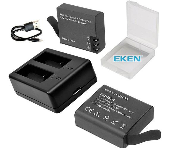 2 Baterias Eken + Cargador Dual Pilas, H5s, H9r, H8r, H6s, W9, Soocoo, Sjcam Sj4000, 4k, Hd, Mobo, Eurocase, Etc Pg1050