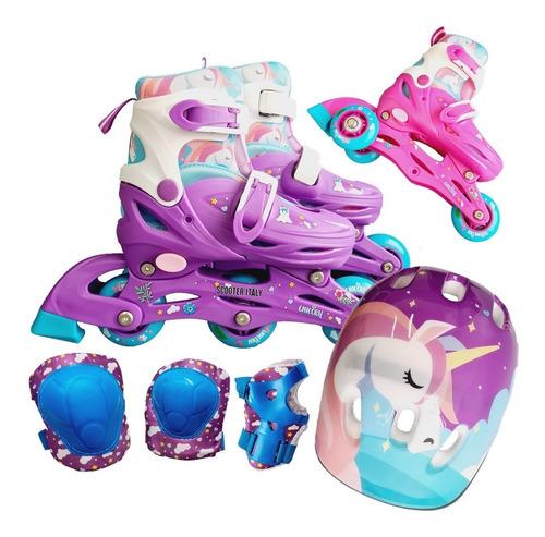 Imagen 1 de 10 de Rollers Patin 2 En 1 Extensibles Unicornio Completo Scooter