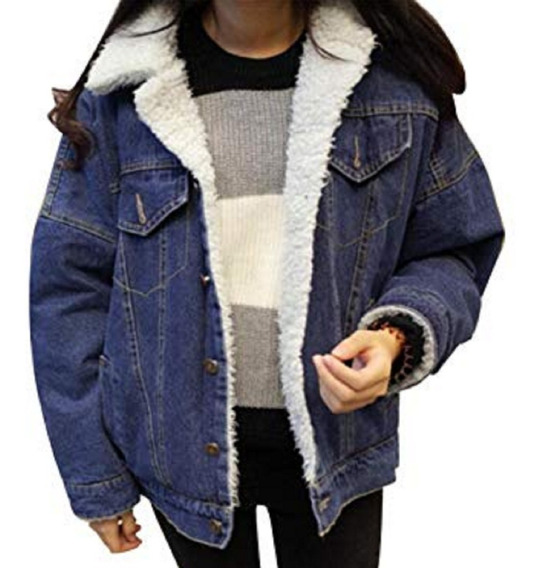 Jaqueta Jeans Com Pelagem Interna De Lã Ovelha Unissex