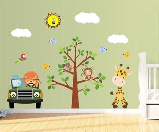 Adesivo De Parede Infantil Árvore Safari Leão Girafa Macaco