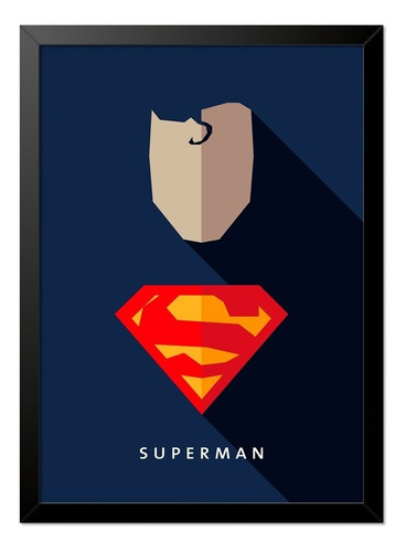 Imagem 1 de 1 de Quadro Poster Super Homem Superman Minimalista 33x23cm