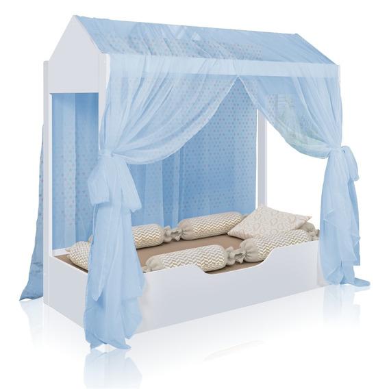 Cama Casinha Montessoriana Juvenil Com Dossel Azul