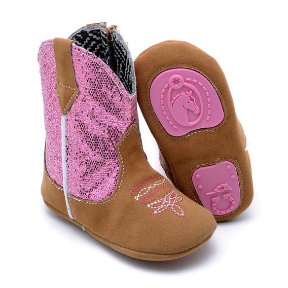 Bota Texana Infantil Baby Kids Country Cano Médio Bordado