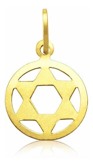 Medalha Pingente Estrela Davi Ouro 18k Masculino Unissex