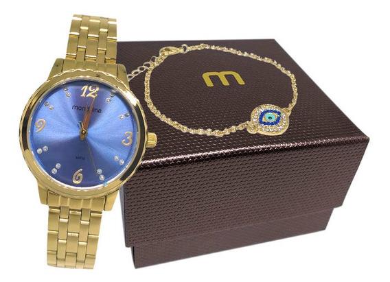 Relógio Mondaine Kit Feminino Dourado 99358lpmkde5k2