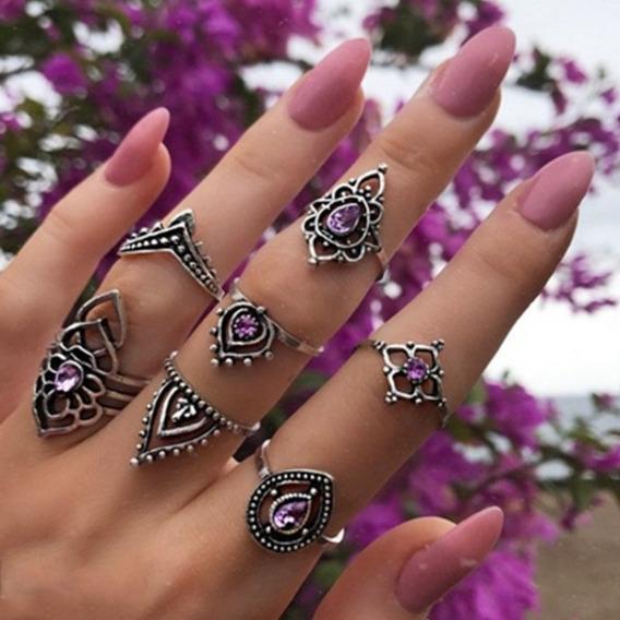 Kit Conjunto Com 7 Anéis Indianos Cor Prata Pedra Lilás Fem