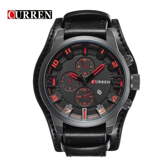 Relógio Curren 8225 Pulseira De Couro Puro Luxo Top