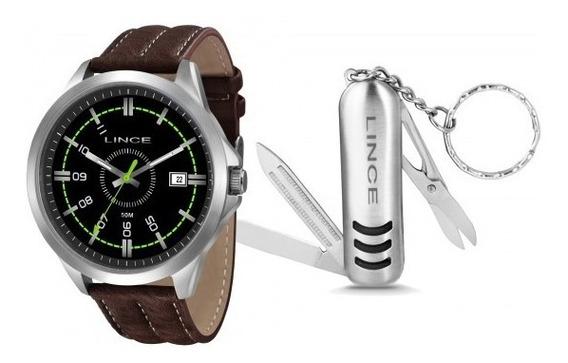 Relógio Lince Mrc4363s Kt43p2nb Kit Chaveiro Masc- Refinado