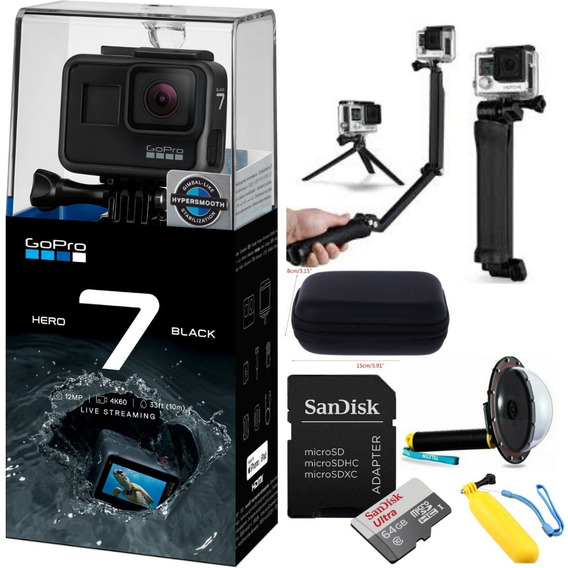 Gopro Hero7 Black +cartao Ultra 64gb +3way+case+dome+flut