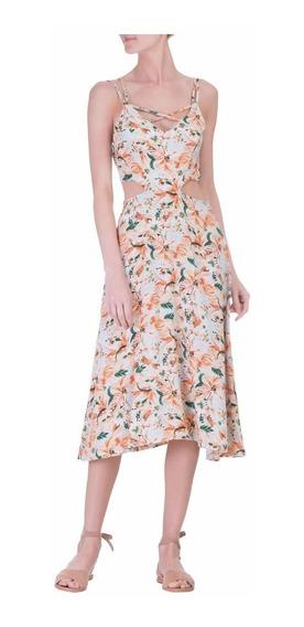 Vestido Market 33 Midi Banzai Floral Recorte Tam G