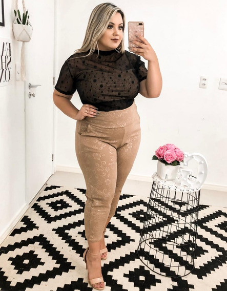 Plus Size Conjunto Calça Em Malha E Blusa Em Tule 46 Ao 50